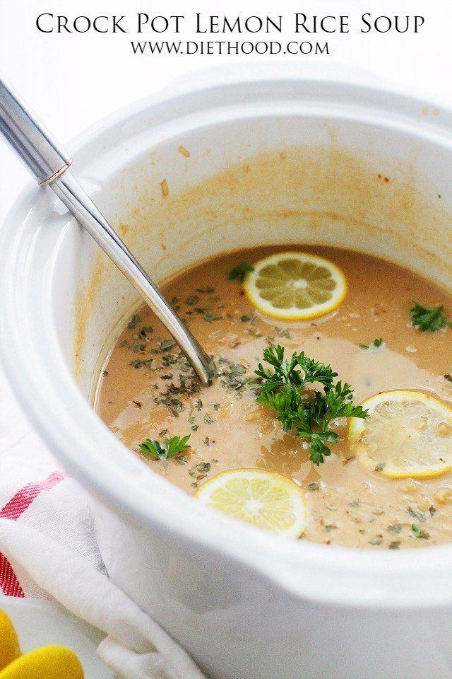 Crock Pot Lemon Rice Soup @FoodBlogs