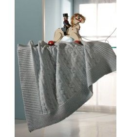 CRADLE BLANKET WITH PLAIT KNITTED WORKING PURE CASHMERE