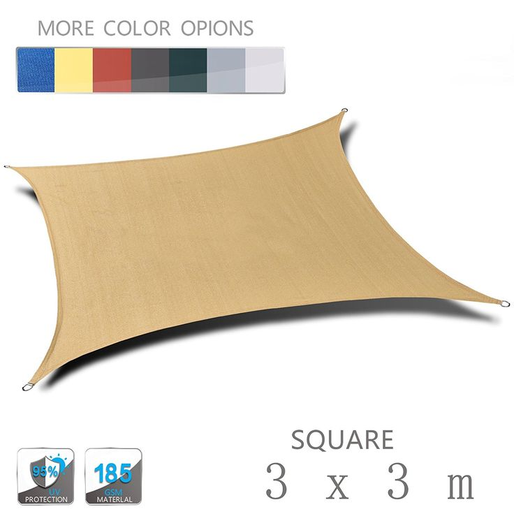 Sunny Cloud 3m x 3m Square Sand Anti-UV Sun Shade Sail Perfect for Outdoor Patio Garden Swimming Pool: Amazon.co.uk: Kitchen & Home