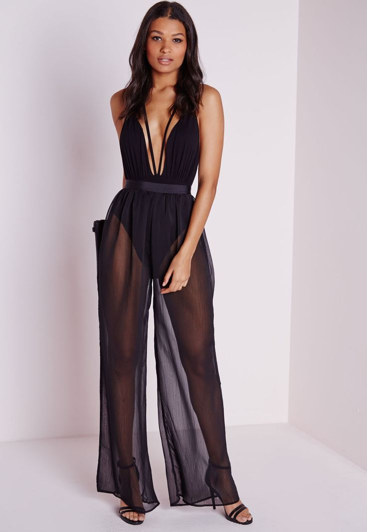 Sheer Pleated Wide Leg Trousers Black - Trousers - Missguided