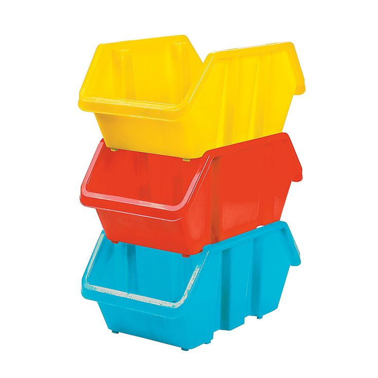 Medium Stackable Storage Bins - OrientalTrading.com Love the size and that they stack up!