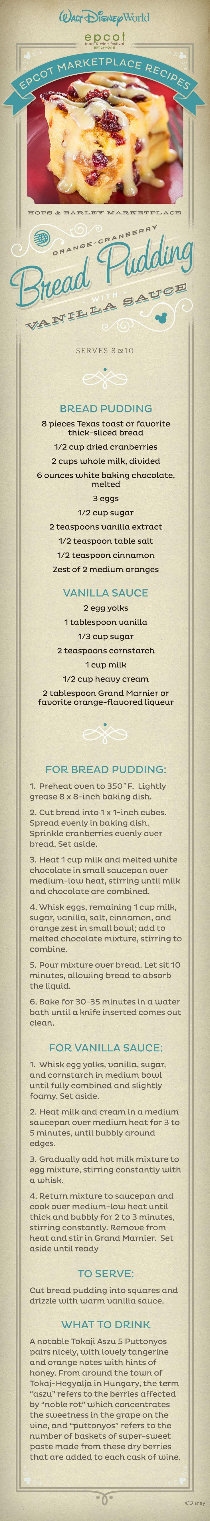 EPCOT Orange-Cranberry Bread Pudding with Vanilla Sauce.
