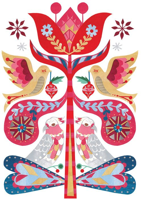 Blueberry Paper — Christmas Bird Flower by Andrea Smith illustrator — Australian cards, gorgeous greeting cards, boutique stationery