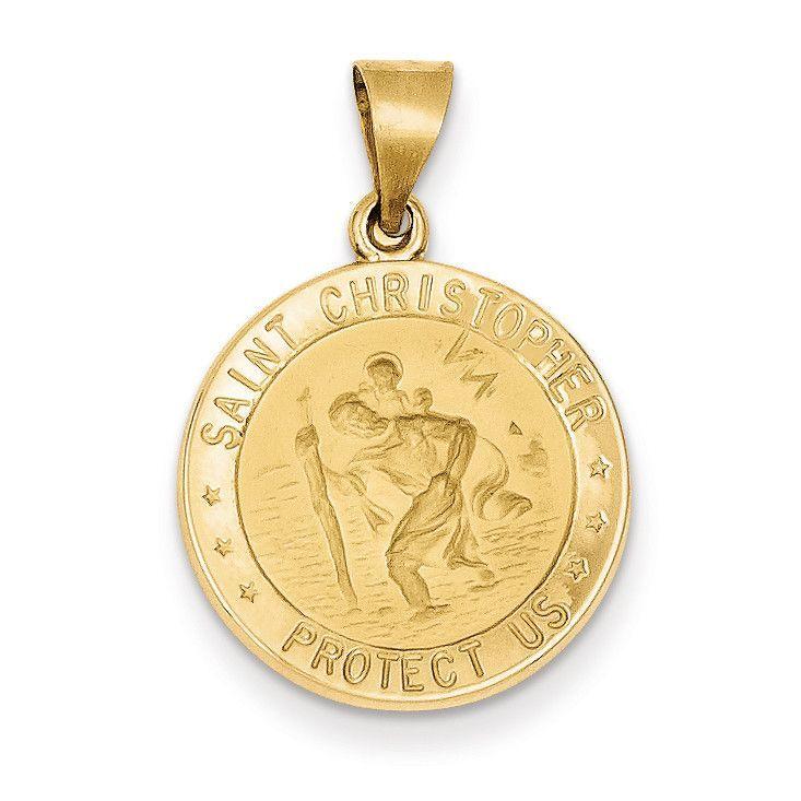 14k Polished and Satin St. Christopher Medal Pendant XR1299