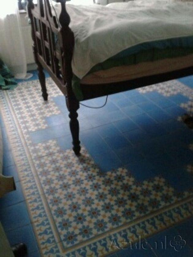 Cement tiles Bedroom - Azule 06 + Border + Corner - Egal Azule S34 - Project van Designtegels.nl