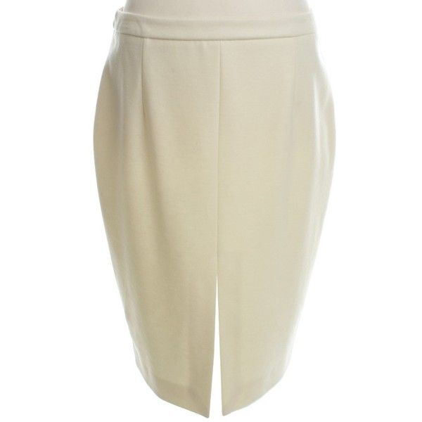 Pre-owned Pencil skirt in cream ($74) ❤ liked on Polyvore featuring skirts, cream, cream pencil skirt, beige pencil skirt, beige skirt, knee length pencil skirt and wool pencil skirt