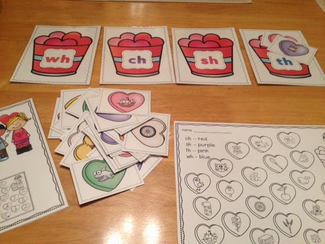 Valentine's Day Literacy Work Stations - just in time to help with your February planning (digraphs, CVC words and more)