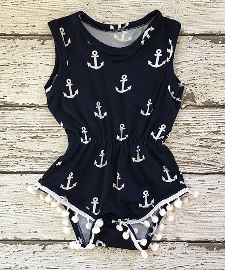 Take a look at this Navy Anchor Pom-Pom Romper - Infant, Toddler & Girls today!