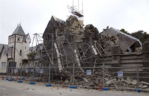 General views of damaged buildings in central Christchurch, New Zealand after the 6.3 earthquake