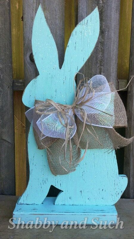 RABBIT Distressed Wood Handpainted Easter by shabbyandsuchdesigns