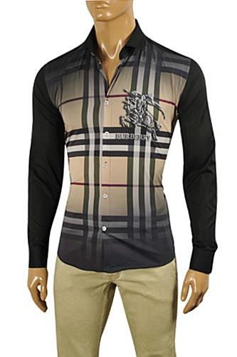 4c02b20f43 Mens Designer Clothes | BURBERRY Men's Dress Shirt In Black #189 ...