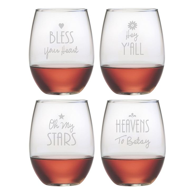 Show off your Southern pride with these assorted Southern Sayings Stemless Wine Glasses. Each 21oz stemless tumbler in this set of four is sand etched with a different typographic design celebrating the Southern vernacular.