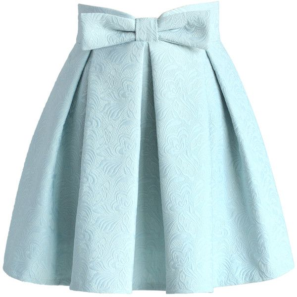 Chicwish Sweet Your Heart Jacquard Skirt in Pastel Blue (780 MXN) ❤ liked on Polyvore featuring skirts, bottoms, saias, blue, knee length pleated skirt, pastel skirt, pleated skirts, heart skirt and embellished skirt