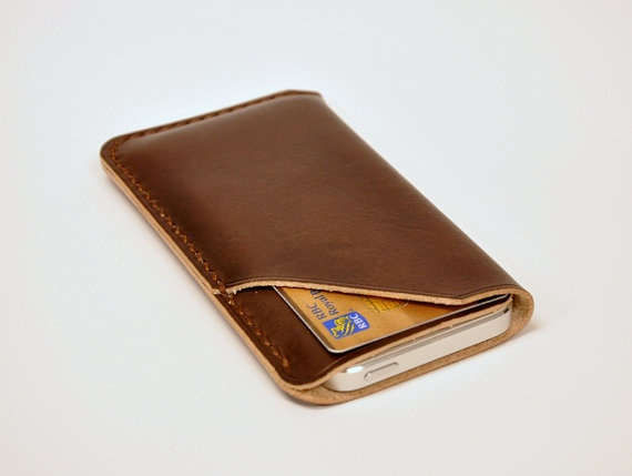 Handmade iPhone 5 Leather Case with Card Holder, iPhone Sleeve with Card Holder, Brown Tanned.