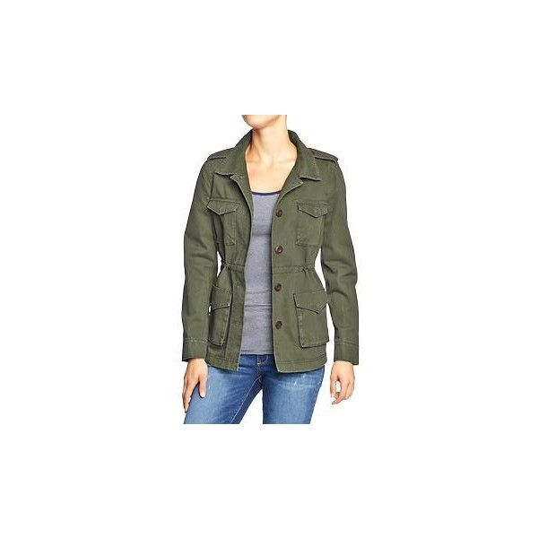 Old Navy Womens Military Style Jackets - Forest floor ($35) ❤ liked on Polyvore featuring outerwear, jackets, military jackets, fitted jacket, button down jacket, green military style jacket and green jacket