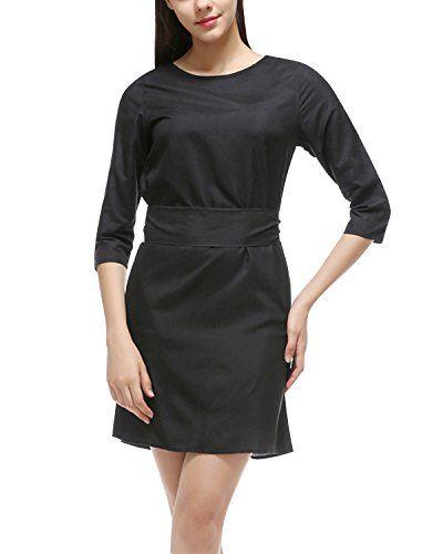 f15211b9c15de Minetom Vestiti Donna Vintage Girocollo Maniche a 3 4 OL Professionale  Partito Vestito con 2