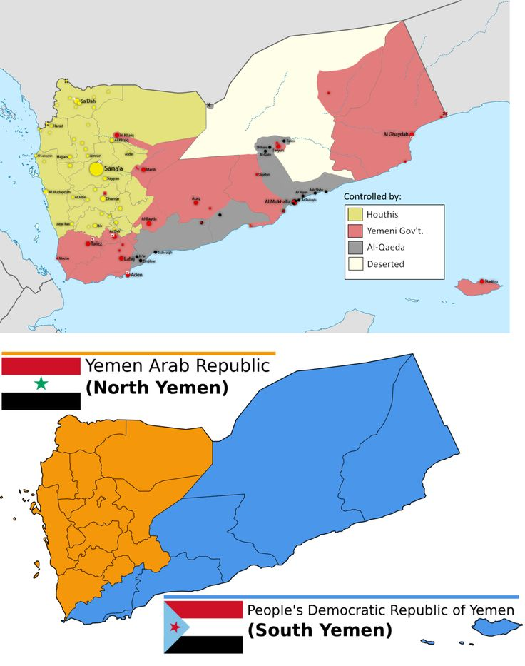 Correlation between Houthi-controlled territory in Yemen during the Houthi Insurgency and territorial divide between pre-unified North and South Yemen