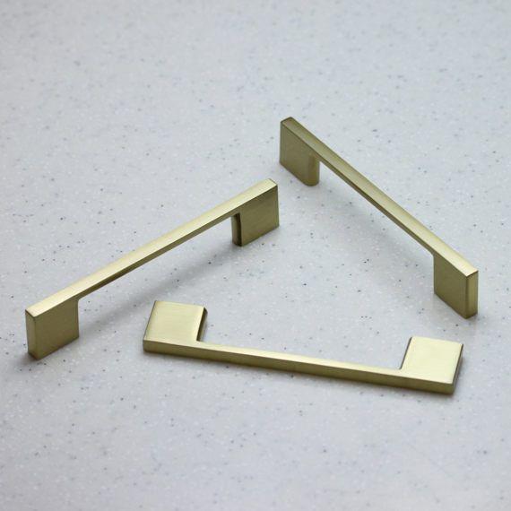 Satin Brass Cabinet Hardware Modern Pull Handle 96mm Center