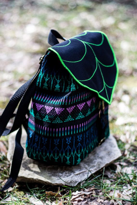 Limited Edition Tribal Leaf mini backpack. Festival season must have ! This cute mini backpack/rucksack, will provide you an easy access to your