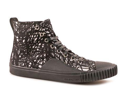 Balenciaga Men's High Sneakers in Black/White Fabric - LuxuryProductsOnline