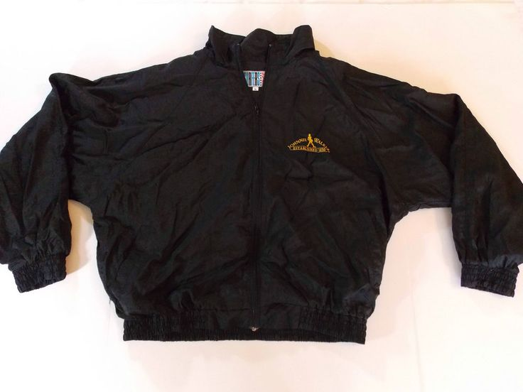 XL Mens Black Johnnie Walker Whiskey Whisky Jacket Coat Light Wind Rain T1 #SurfersEdge #BasicJacket