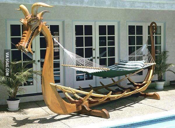 A Viking ship inspired hammock frame.