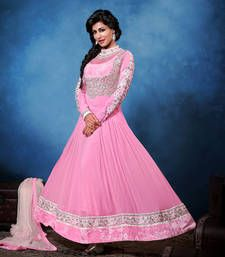 Long Fancy Outfit On Georgette With Embroidery & Hand Work Comes With Pure Bembering Chiffon Duppata