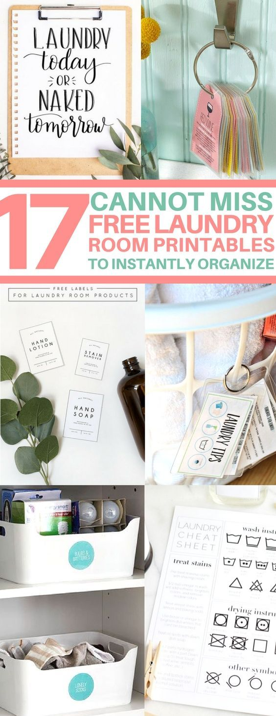 This is the BEST roundup of free printables to organize your laundry room! organizing hacks, free printable labels, diy cleaners, stain removal, laundry room ideas