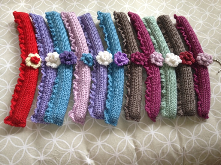 Crochet hangers with flower detail