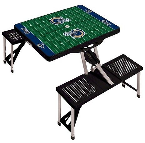 Picnic Time NFL Portable Picnic Table with Sports Field Design by Black