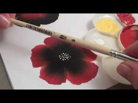 """Video tutorial in French : learn the """"One stroke"""" painting technique (level 1). Great demo by a lefty! Tutoriel vidéo : découvrez la technique de peinture acrylique """"One Stroke"""" (niveau 1)."""