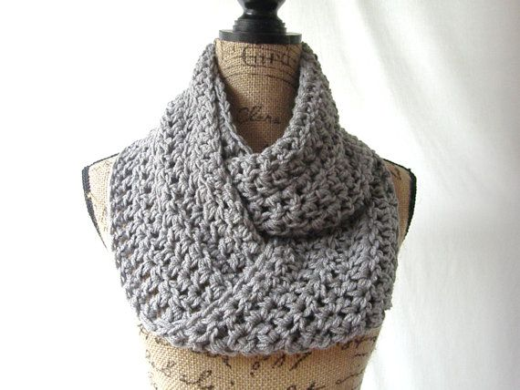 Erin Medium Gray Grey Infinity Crochet Scarf Cowl Loop Circle Accessor   This scarf is made with a beautiful gray colored yarn using two