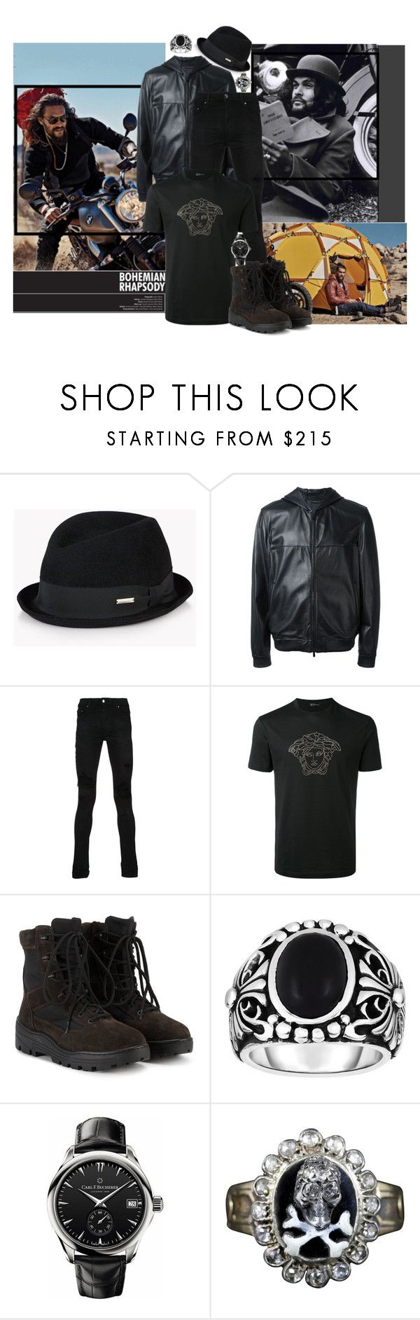 """""""All Black Everything"""" by ahcha ❤ liked on Polyvore featuring Topanga, Dsquared2, Fendi, AMIRI, Versace, Yeezy by Kanye West, Phillip Gavriel, Carl F. Bucherer, memento and men's fashion"""