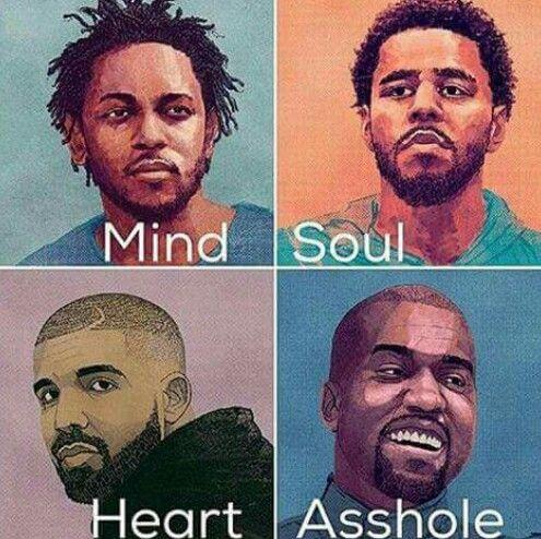 Kendrick Lamar, J. Cole, Drake and Kanye West