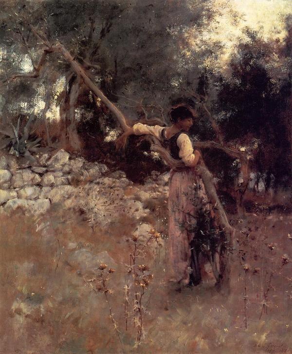 John Singer Sargent  - Capri Girl (Among the Olive Trees, Capri) 1878