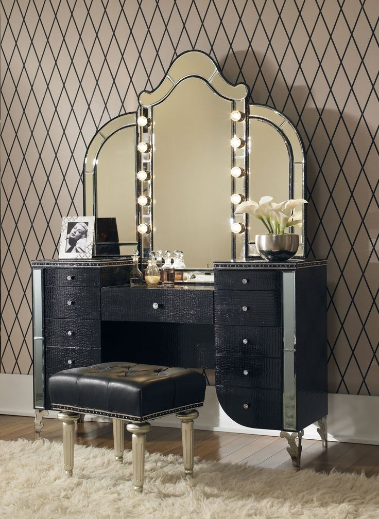 Aico Hollywood Swank Upholstered Vanity & MirrorBlack