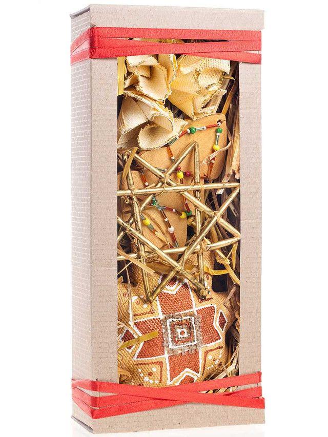 Подарочный набор этно-игрушек в крафте: золотая звезда