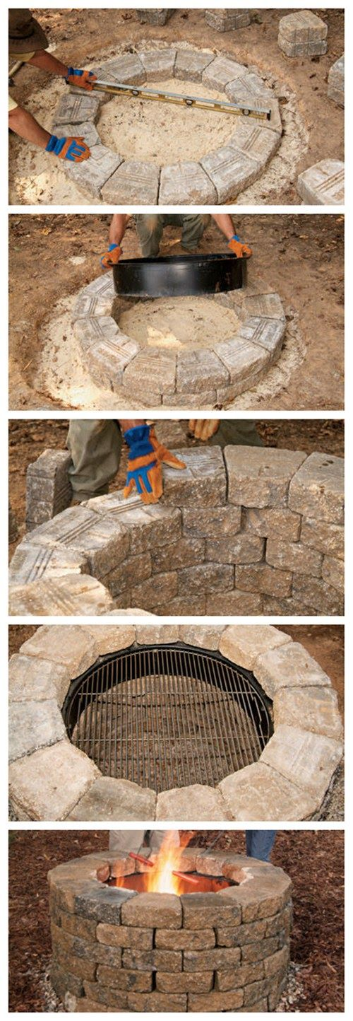 How to Build Your Own Fire Pit  could be a possibility that you could also do a homemade inground swimming pool with this, just make it bigger...