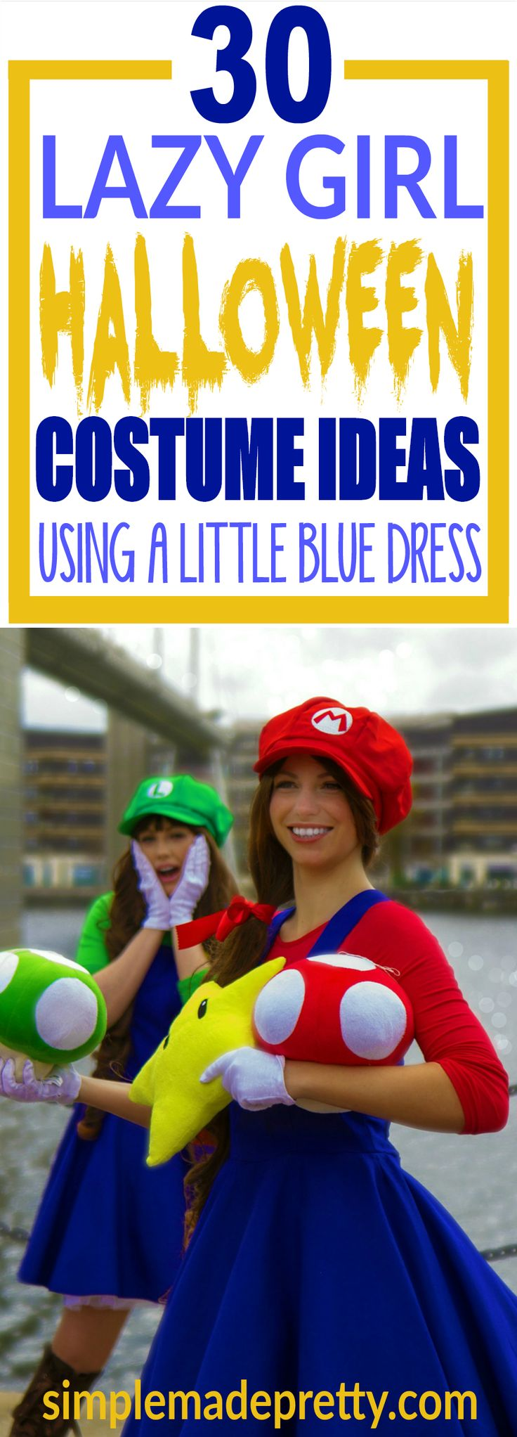 These lazy girl Halloween costume ideas are easy to pull together for a last minute Halloween costume idea. I love this Super Mario Brothers Halloween costume for girls! There are so many other Halloween costume ideas for women in this post!