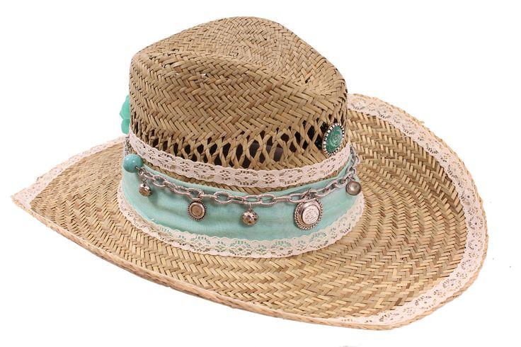 Strand Ibiza hoed (Cowboy), Ibiza mode, Groen / wit 0436