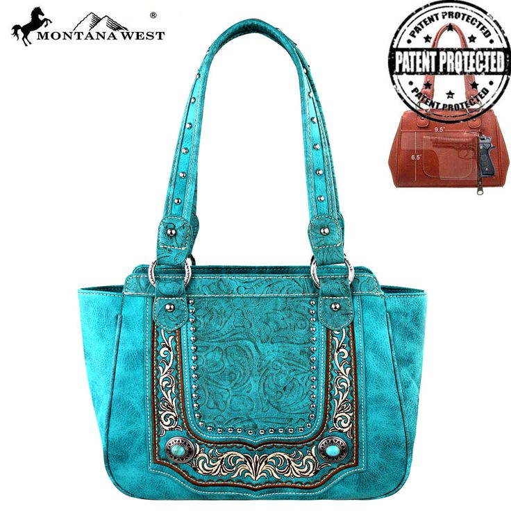 MW252G-8250 Montana West Concealed Handgun Collection Handbag-Turquoise