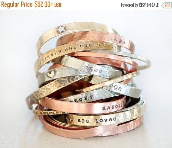 VETERANS DAY SALE Personalized Gift / Birthday Gift / Customized Cuffs / Christmas Gift / Personalized Jewelry / Gift for Her / Personalized by amywaltz on Etsy https://www.etsy.com/listing/249331799/veterans-day-sale-personalized-gift