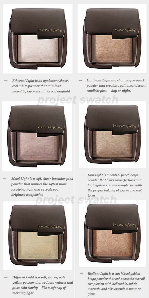 Hourglass Ambient Lighting Powders Colour Palette - They mimic 6 universally flattering light sources, from morning light to candlelight, allowing clients to build a wardrobe of options—not unlike having a personal lighting technician at your disposal - By manipulating and filtering out harsh light, powders conceal skin imperfections, pores and wrinkles. - State-of-the-art formula delivers a multi-dimensional luminescence to every skin tone, making it appear softer, younger and perfectly…