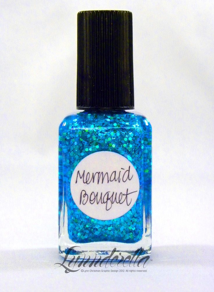 Mermaid Bouquet is one of those difficult-to-photograph cyans. It contains holographic cyan hearts, stars, flowers, diamonds and hexagons in a shimmering aqua base.