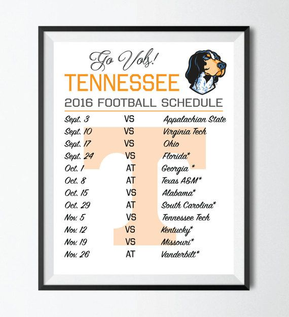 2016 Tennessee Football Schedule Digital Wall by WordLabDesigns