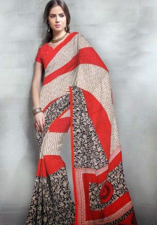 Maroon And Cream Printed Art Silk Saree