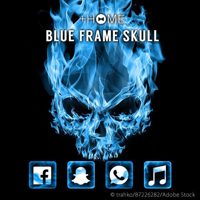 """Blue Flame Skull""   Sometimes nothing describes how you're feeling more than a burning skull in blue flames.  Download Now:http://bit.ly/2tmZ6Ew  #cool #wallpaper #design #icon #plushome #homescreen #widget #deco"