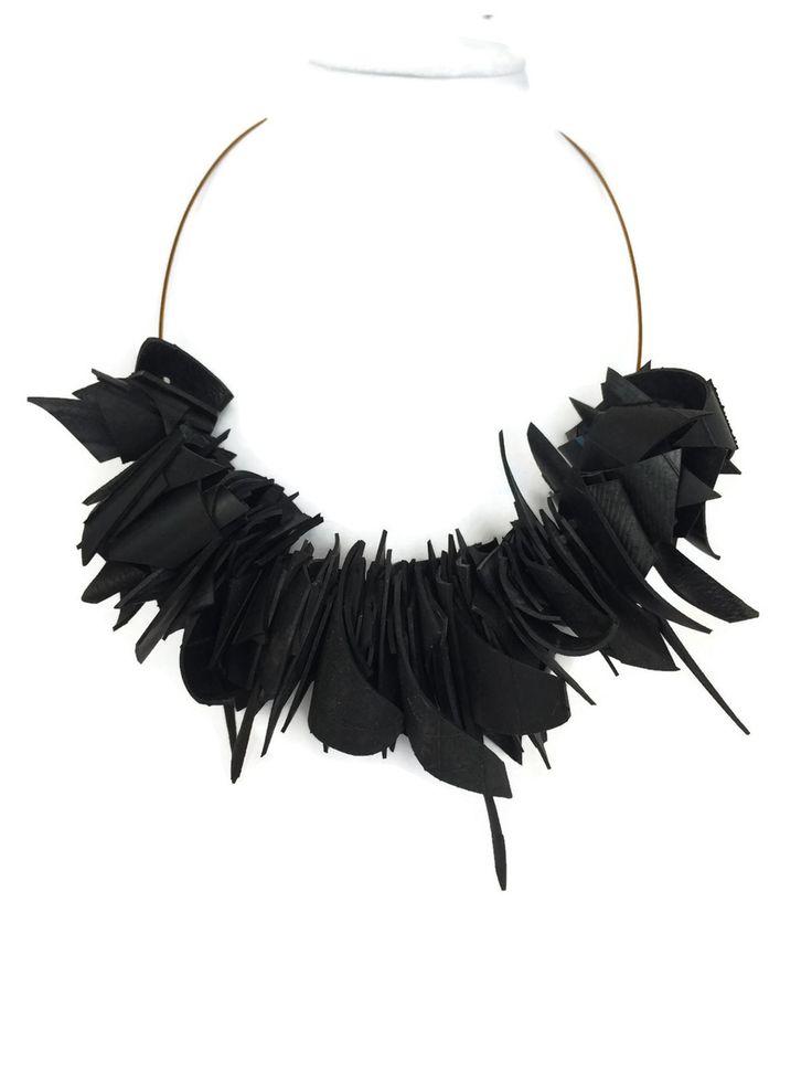 Upcycled inner tube jumble jumble necklace by Laura Zabo