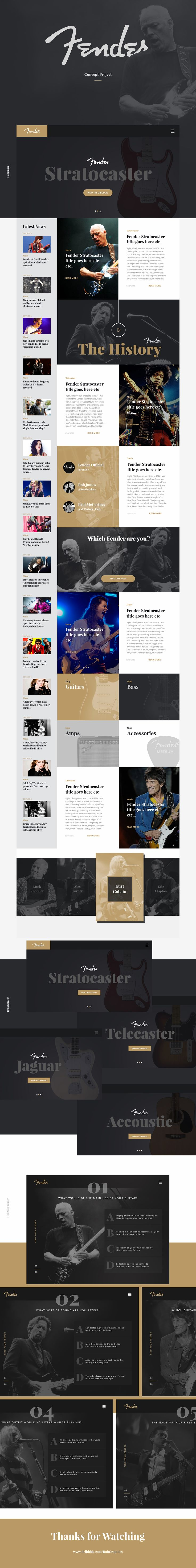 Just for fun I designed a concept landing page for Fender. It is built up of interactive content, classic Fender archive content and up to date news stories. The idea is based around discovery, I wanted the user to be inspired by the Fender legacy and be …