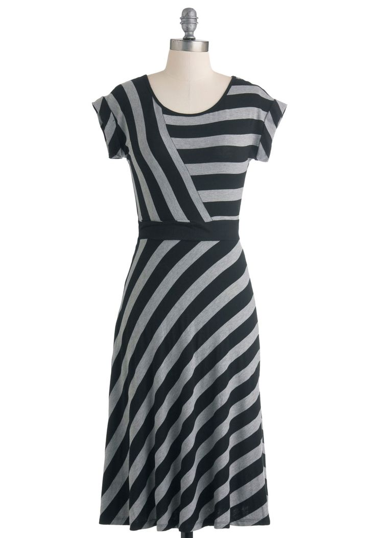 An Afternoon with You Dress - Long, Black, Grey, Stripes, Casual, A-line, Cap Sleeves, Fall